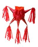 Red pinata. Five peaks traditional mexican red pinata in white background Stock Photo