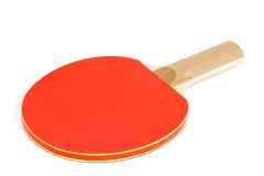 Red Ping Pong Paddle on White Background Royalty Free Stock Photography