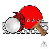 Red ping pong racket and ball with fire trail and net on white. Sport logo for any team. Or championship stock illustration