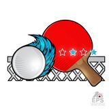 Red ping pong racket and ball with wind trail and net on white. Sport logo for any team. Or championship royalty free illustration