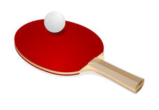 Red ping-pong rackets and white ball Stock Image