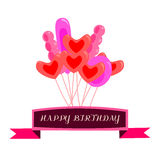 Red and pink air party balloons over ribbon with text happy birthday Stock Photos