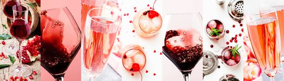 Red and pink alcoholic beverages, wine, champagne and liqueurs, berry and fruit cocktails. Photo collage stock photography