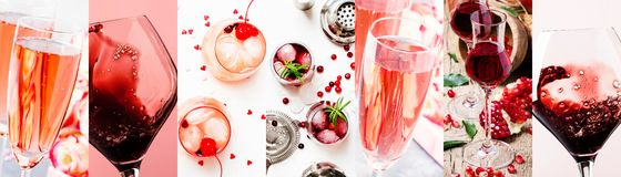 Red and pink alcoholic beverages, wine, champagne and liqueurs, berry and fruit cocktails. Photo collage. Still lilfe stock images