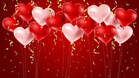 Red and pink balloons with confetti Stock Photography
