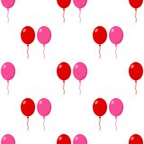 Red and Pink Balloons Seamless Pattern Stock Photo