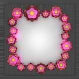 Red pink blossom square frame on metallic surface Stock Photo