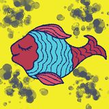 Pink-blue fish on a yellow background royalty free stock image