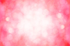 Red pink bokeh and heart abstract background. Stock Photos