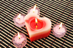 Red and pink candles royalty free stock photo