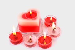 Red and pink candles stock images