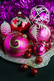 Red and pink Christmas decorations Stock Images