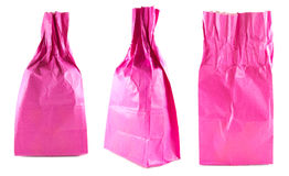 Red pink with crumpled paper bag set on white background Royalty Free Stock Photography
