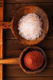 Red and Pink Crystal Rock salt in rustic  spoons Royalty Free Stock Photos