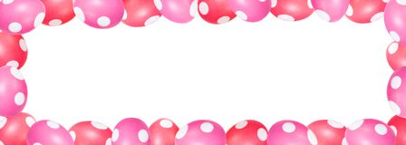 Red and pink dyed easter eggs with dots in a frame, header with Royalty Free Stock Image