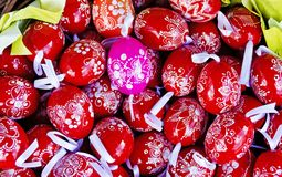 Red and pink Easter eggs Stock Photo