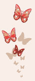Red and pink fishnet butterflies with shadows on the background Royalty Free Stock Image