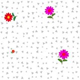 Red pink flowers on white background with gray trigons Royalty Free Stock Photos