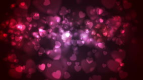 Red and pink glowing bokeh hearts video animation. Red and pink glowing bokeh hearts motion background. Valentine Day love video animation Ultra HD 4K 3840x2160 stock video footage