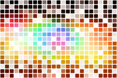 Red pink green blue brown occasional opacity mosaic over white. Red pink green blue brown occasional opacity vector square tiles mosaic over white  background Royalty Free Stock Images