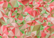 Red pink and Green polygonal illustration. Geometric background. Triangular design in Raster. Stock Photo