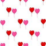 Red Pink Heart Balloon Seamless Pattern Stock Photos