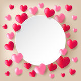 Red and pink heart balloons. Floating on light background with white circle paper Stock Photography