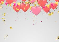 Red and pink Heart balloons  isolated on  transparent background. Flying latex ballons. Vector illustration Stock Photos