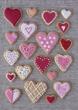 Red and pink heart cookies Royalty Free Stock Images