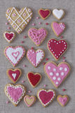 Red and pink heart cookies Stock Image