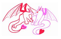 Red and Pink Heart Dragons, Valentine's Day Royalty Free Stock Image