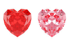 Red and pink heart shaped diamonds. 3D rendering of heart shaped diamonds for digital creations such as invitations, greeting cards and more Royalty Free Stock Photography