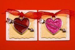 Red and pink hearts Royalty Free Stock Image