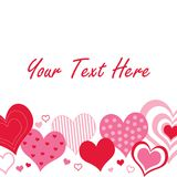 Red and Pink Hearts Border. A pattern of pink and red hearts with space for text royalty free illustration
