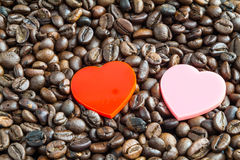 Hearts on coffee beans Royalty Free Stock Image