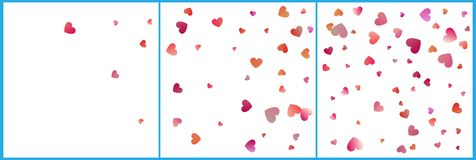 Red and pink hearts confetti celebrations. Simple festive modern design. Holiday vector set.  stock illustration