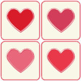 Red and pink hearts frames set. Royalty Free Stock Photo