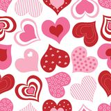 Red and Pink Hearts Pattern Royalty Free Stock Image