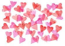 Red and pink hearts pattern watercolor painting Stock Photography