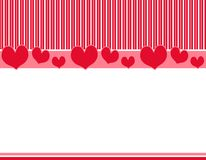 Red Pink Hearts Stripes Border 2. A background border featuring red and pink stripes and hearts as a top and bottom border Royalty Free Stock Photos