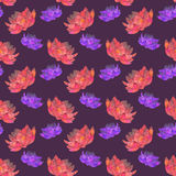 Red and pink lotus. Seamless pattern with cosmic royalty free stock images