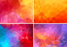 Red and pink low poly backgrounds, vector set. Abstract red, orange, pink low poly backgrounds, set of vector design elements royalty free illustration