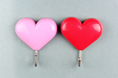 Red and Pink Magnets heart shape Royalty Free Stock Photography