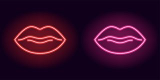 Red and pink neon lips. Vector illustration of neon sexy lips consisting of outlines, with backlight on the dark background Royalty Free Stock Photos