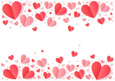 Red and pink paper hearts  on white, Valentines Day vector background Stock Photography