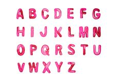 Red pink plasticine alphabet A-Z royalty free stock images