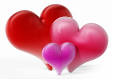 Red, pink and purple hearts.3D illustration. Red, pink and purple hearts  on white background.3D illustration Stock Photos