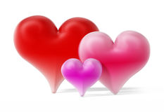 Red, pink and purple hearts.3D illustration. Red, pink and purple hearts  on white background.3D illustration Royalty Free Stock Photos