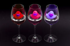 Red, pink and purple rubber ducks in wineglasses Royalty Free Stock Photo