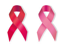 Red and pink ribbons. As international symbol of fight against a cancer and AIDS Stock Images